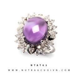 Nhẫn bạc đá thạch anh tím NTAT03