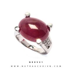 Nhẫn bạc mặt đá Ruby NRBV01