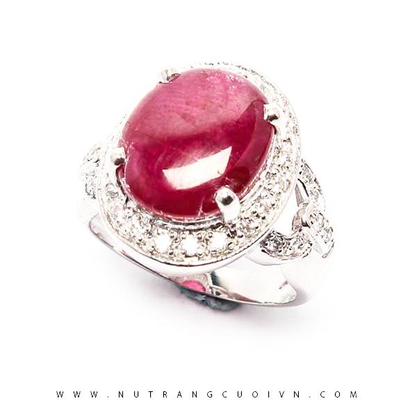 Nhẫn bạc mặt đá Ruby NRBV06