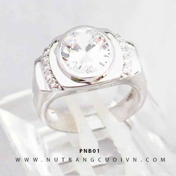 Nhẫn nam vàng trắng PNB01