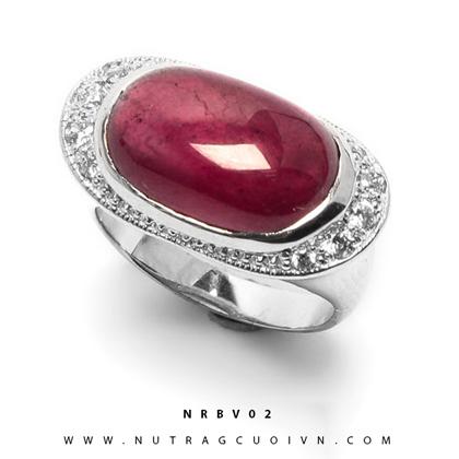 Nhẫn bạc mặt đá Ruby NRBV02