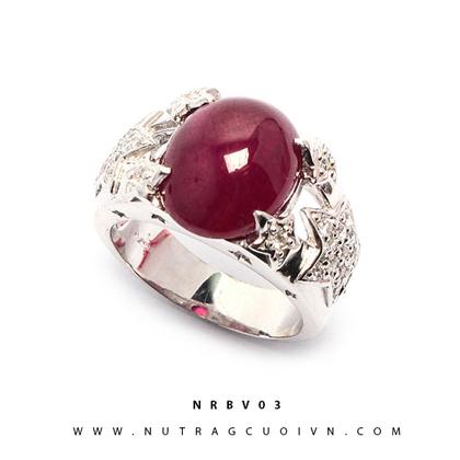Nhẫn bạc mặt đá Ruby NRBV03