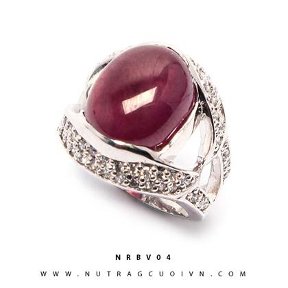 Nhẫn bạc mặt đá Ruby NRBV04