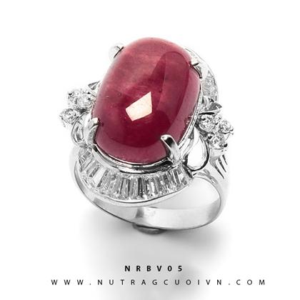 Nhẫn bạc mặt đá Ruby NRBV05