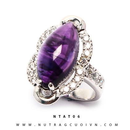 Nhẫn bạc đá thạch anh tím NTAT06