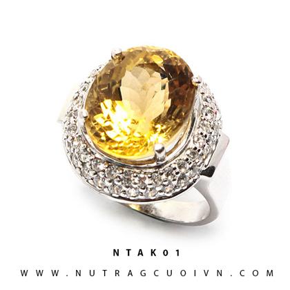 Nhẫn bạc thạch anh vàng NTAK01