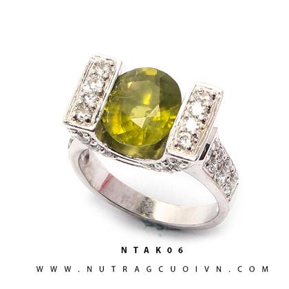 Nhẫn bạc thạch anh xanh NTAK06