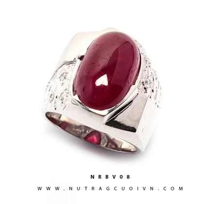Nhẫn bạc mặt đá Ruby NRBV08