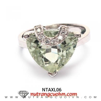 Nhẫn bạc thạch anh xanh NTAXL06