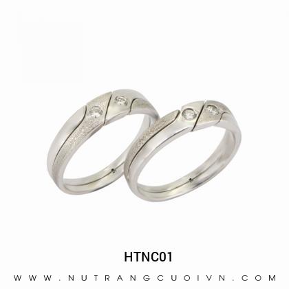 Nhẫn Cưới Vàng Trắng HTNC01