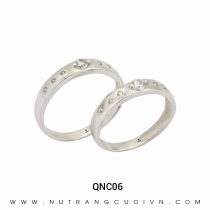 Nhẫn Cưới Vàng Trắng QNC06