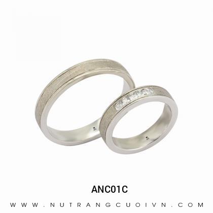 Nhẫn Cưới Vàng Trắng ANC01C