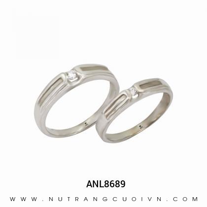 Nhẫn Cưới Vàng Trắng ANL8689