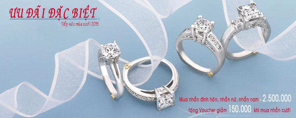 Khuyến mãi nhẫn cưới và trang sức cưới 2015