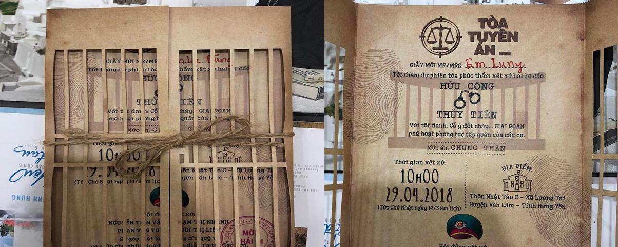 """Hữu Công và tấm thiệp cưới """"Tòa tuyên án"""" độc nhất vô nhị"""